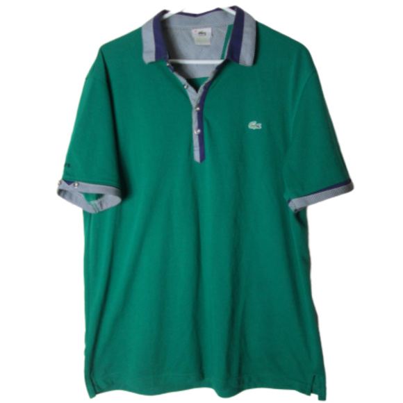 Lacoste Other - vintage lacoste polo shirt green plaid logo rare